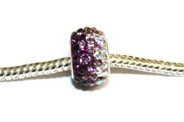 1pce x Deep purple - violet - clear pave crystal bead 12mm x 8mm -  with 5mm hole PS-S-12- 033